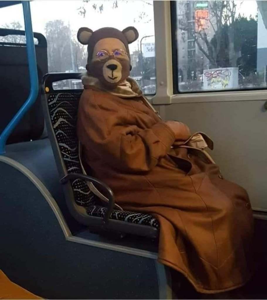 Buszon utazik a macis néni